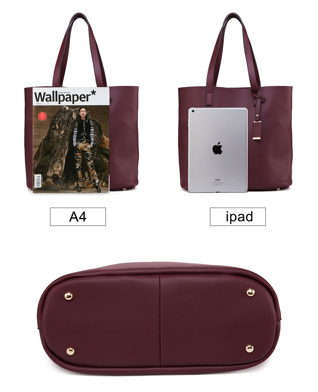0b9b48e956520 ilishop PU Leather Handbag Designer Pures - Pure Color Large Capacity  Shoulder Bag-Classical Tote