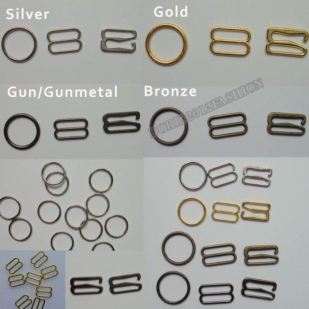 FidgetFidget Metal Bra Strap Adjuster Slide Rings Hooks O 8 9 100pcs 6/8/10/12/15/18/20/25mm Silver 20mm 0.79'' by FidgetFidget