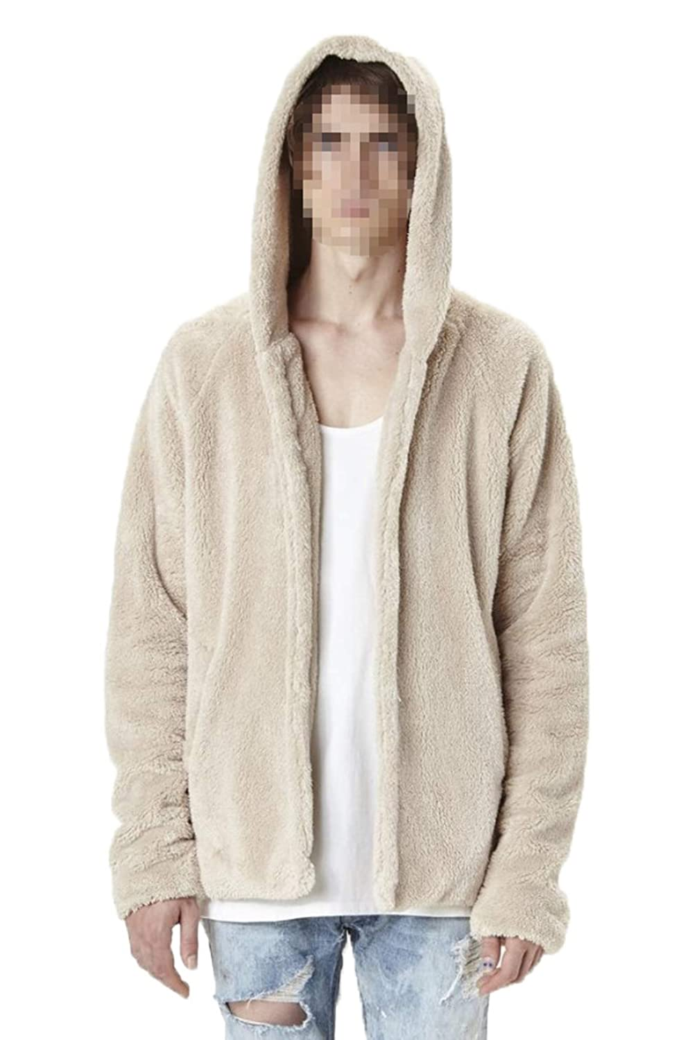 MysterLuna Men Warm Fluffy Plush Hoodie Cardigan Coat Jacket Sweatshirt Top