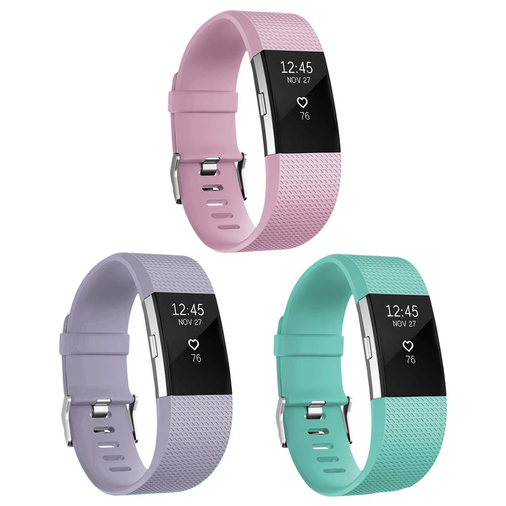 For Fitbit Charge 2バンド、Skyletシリコン交換用バンドfor Fitbit Charge 2ブレスレットwith Secure Watch Clasp (トラッカーなし) B06Y66PR6T 3 Pack: Light Pink&Light Purple&Tea Green Small