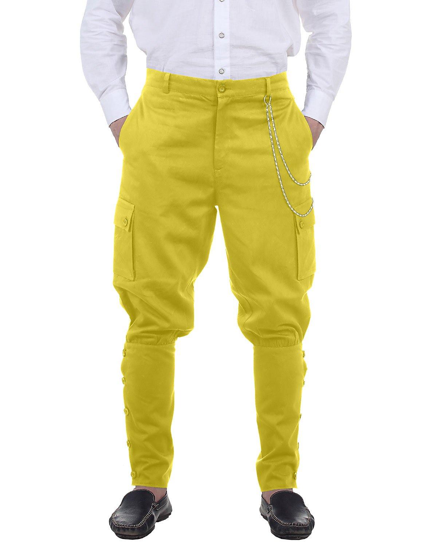 ThePirateDressing Steampunk Victorian Cosplay Costume Mens Airship 100% Cotton Pants Trousers C1347 (Orange) (Medium)