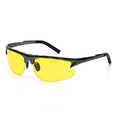 HD Nachtsichtbrille für Herren Autofahren Gelben Sonnenbrille Sport mit Groß Ultra Leicht Metallrahmens Polarisiert Entspiegelten(Grau) MVATWfytvT