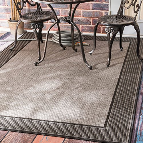 nuLOOM Solid Border Indoor/Outdoor Area Rug (5'3 x 7'6) - Outdoor Rug Indoor Border