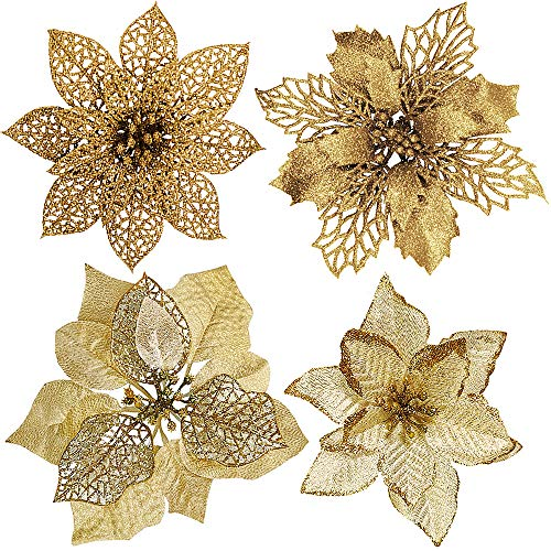 24 Pcs 4 Styles Christmas Gold Metallic Mesh Glitter Artificial Poinsettia Flower Stems Tree Ornaments in Box for Gold…
