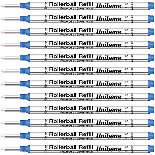 Unibene Montblanc Compatible Gel Ink Rollerball Refills 12 Pack, 0.7mm Medium Point - Blue, Rolling Ball Refills Fit Mont Blanc Rollerball/Fineliner Pen