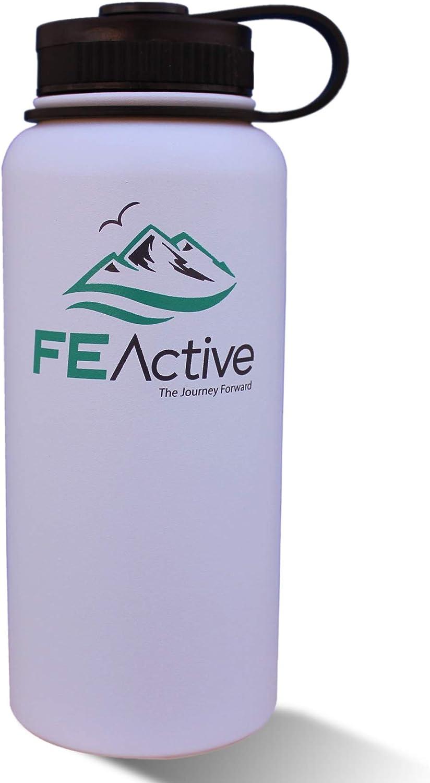 FE Active - Botella de agua de acero inoxidable con aislamiento al vacío, doble pared (pared interior/exterior 18/8 grado 304/s) de 32 onzas, sin BPA, con revestimiento en polvo Frío 24 horas y calien