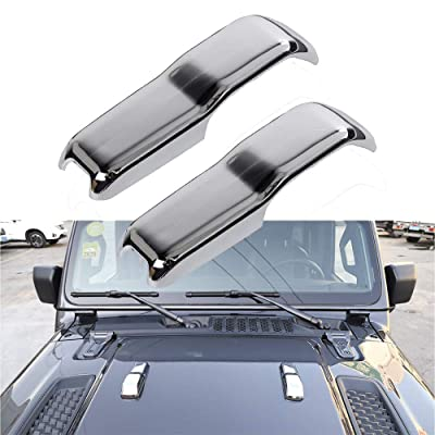 2pcs Car ABS Engine Hood Hinge Cover Decoration Cover Sticker Frame Styling Cover Exterior Accessories for 2020-2020 Jeep Wrangler (Sivler): Automotive