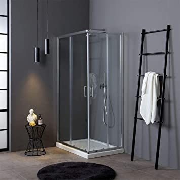 Mampara de ducha angular deslizante, 70 x 100 cm, cristal ...