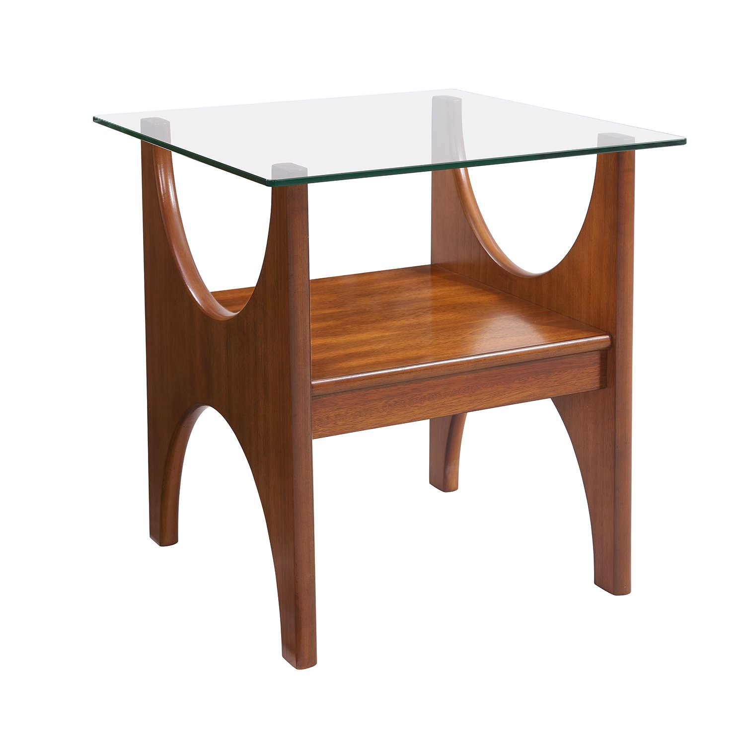 Midcentury Modern Table – Wood Glass Side Table – Scandinavian Inspired Design