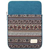 BLOOMSTAR 14 Inch Bohemian Canvas Protective Laptop Sleeve Bag Notebook Case Cover for MacBook, Chromebook, Acer, Dell, HP, Samsung, Sony (Vertical,Blue)