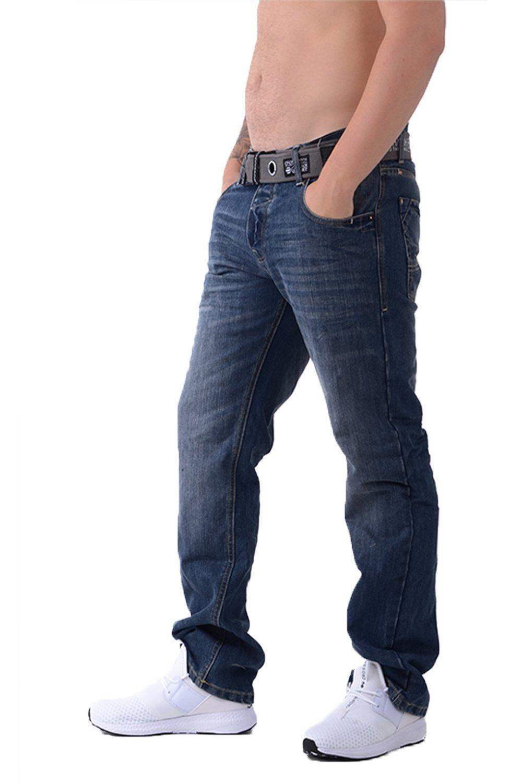 Herren Wak Dunkle Verwaschene Jeans Crosshatch Neue Jeans Straight Leg Mit  Vernetzt Gürtel: Amazon.de: Bekleidung