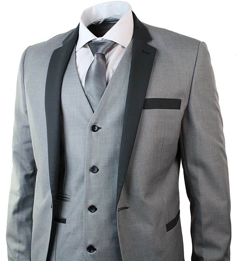 Mens 3 Piece Light Grey Suit Charcoal Trim Slim Fit Wedding Party ...