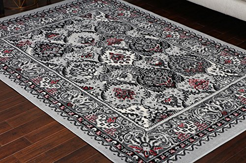Generations Collection 100% Olefin Grey Silver White Red Oriental Traditional Panal Persian Area Rugs Rug 8054silver 4'2 x 5'2 4x6