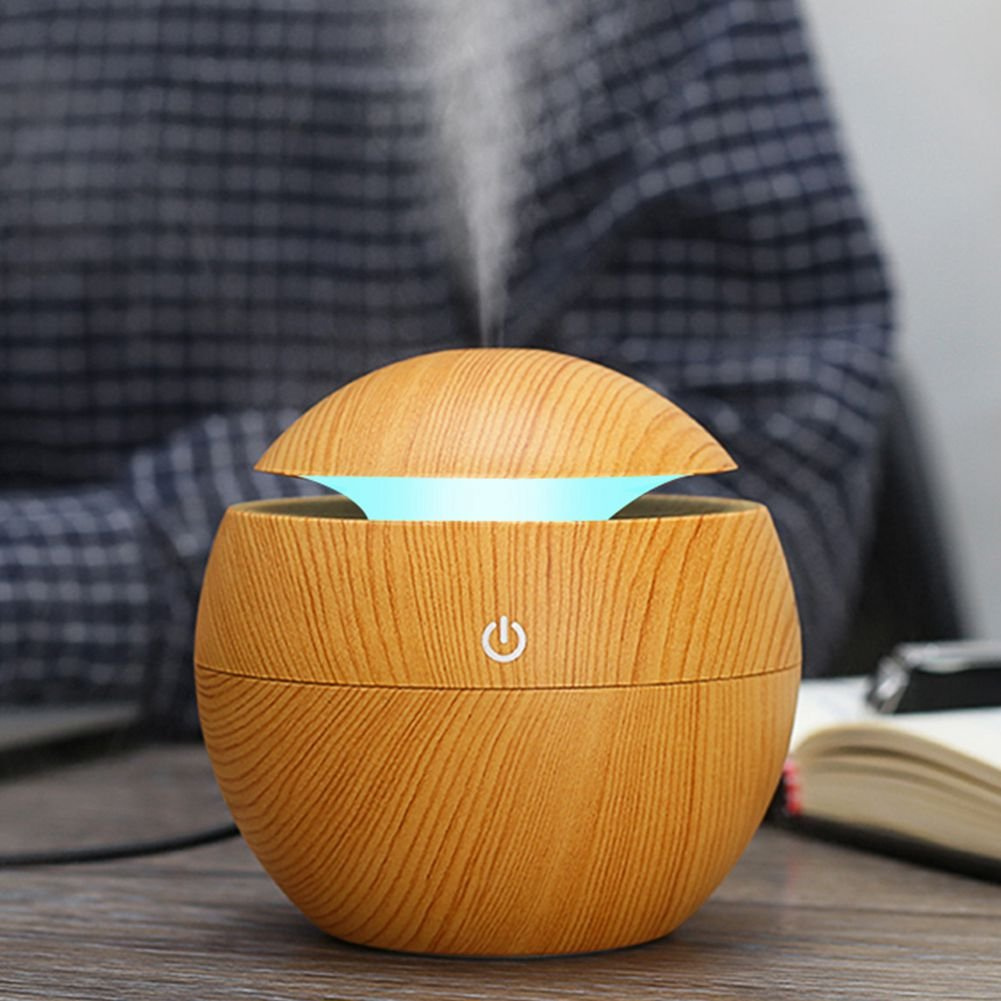 Toogoo USB Aroma Humidifier ESSential Oil Diffuser Ultrasonic Cool Mist Humidifier Air Purifier 7 Color Change LED Night light for Office Home:Light Wood by Toogoo (Image #2)