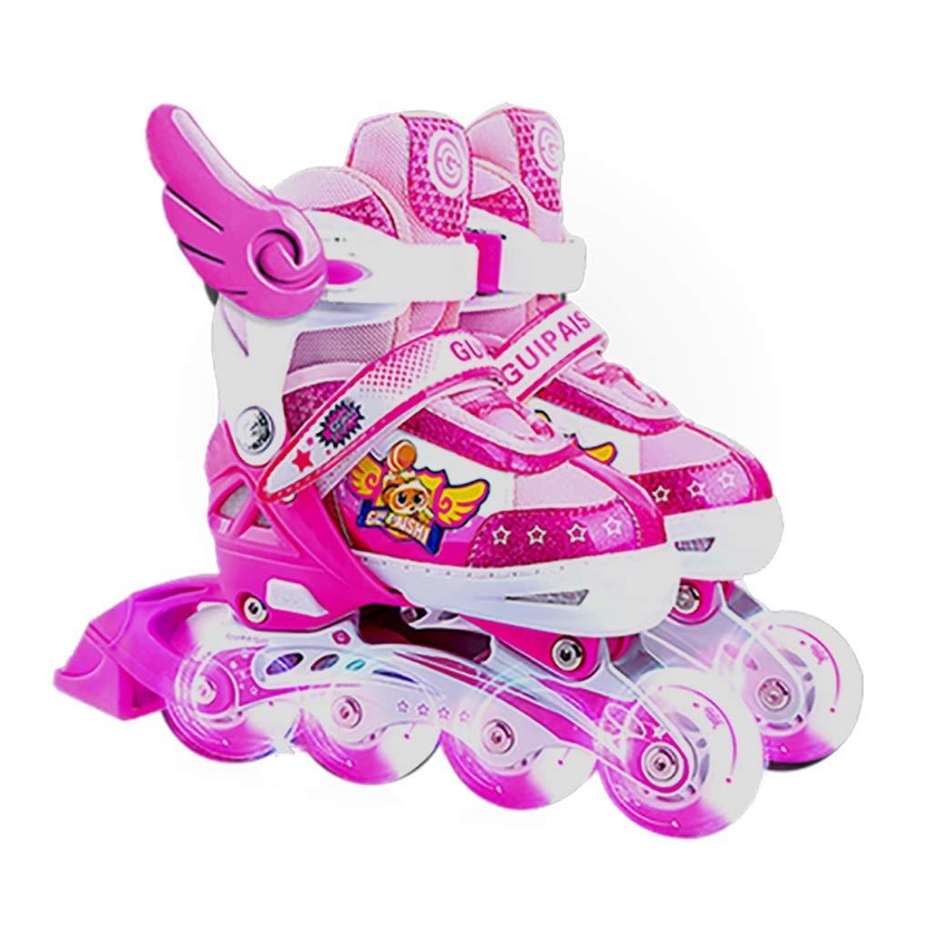 インラインスケート スケート靴子供用ローラースケート単列ローラーシューズ調節可能スケート初心者スケート最高の贈り物 (Color : ピンク, Size : S) ピンク Small