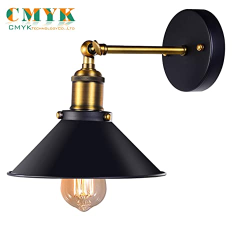 Black Antique Wall Sconce Industrial Retro Wall Light Fixture Metal Lamp Shade 240 Degree Adjustable Be Used For Restaurants And