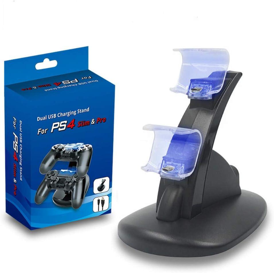 Kit de cargador Playstation 4 Cargador dual USB Soporte de cuna Soporte de estación de carga para Sony PlayStation 4 Controlador PS4 y Controlador PS4 Pro: Amazon.es: Videojuegos