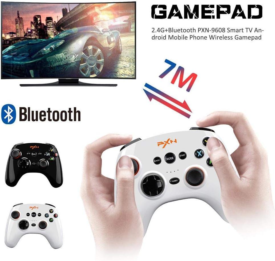 RORORO Bluetooth Gamepad, 2.4G + PXN-9608 Smart TV Android Teléfono Inalámbrico Gamepad 550mAh Wowbox Juego Móvil Controlador Bluetooth para Teléfono/TV/Decodificador/Computadora: Amazon.es: Electrónica