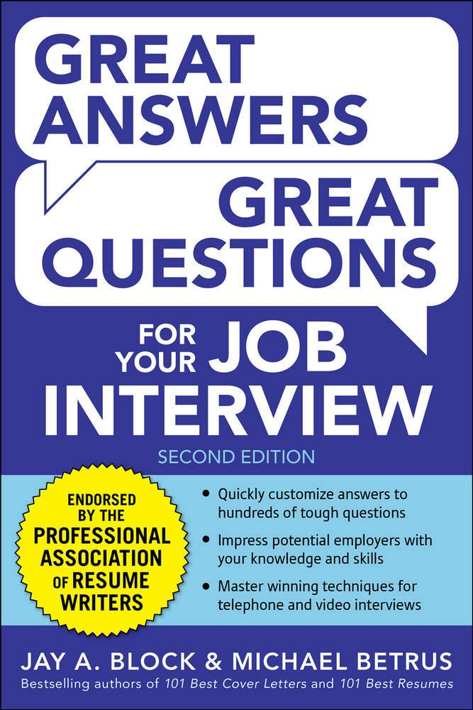 Image for Great Answers, Great Questions For Your Job Interview, 2nd Edition