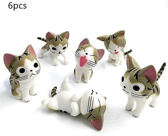 6 pieza poco gatos, kimkoala miniatura jardín de hadas adorno de ...