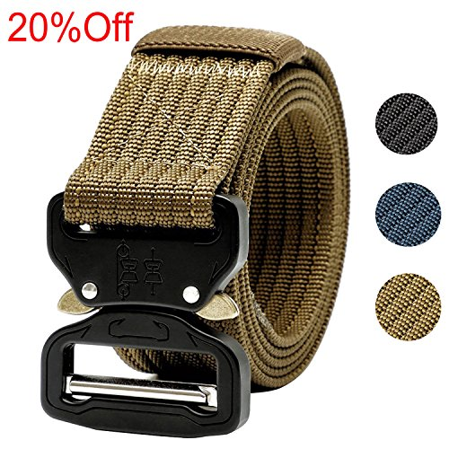Tactical Belt,1.5 Inch Men's Web Army Military Quick Release Buckle Belt-Tan 49 inch(Gift Package) (Tan Cobra Buckle Belt)