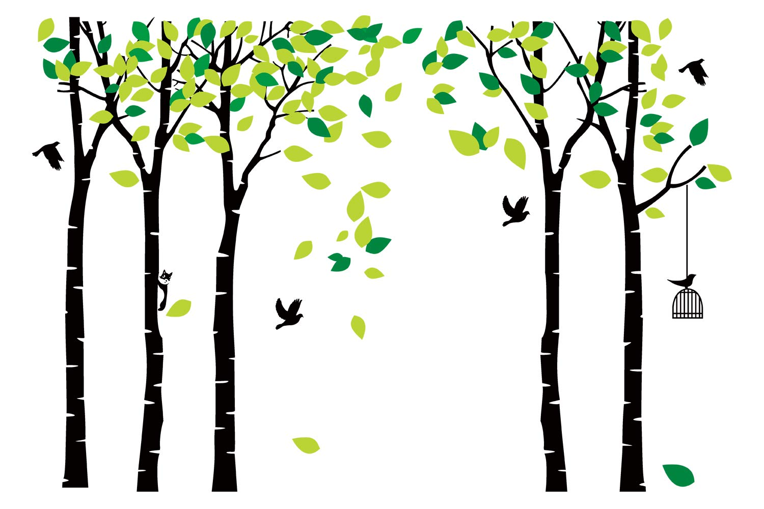 ANBER Giant Jungle Tree Wall Decal Removable Vinyl Sticker Mural Art Bedroom Nursery Baby Kids Rooms Wall Décor (Black and Green) by ANBER