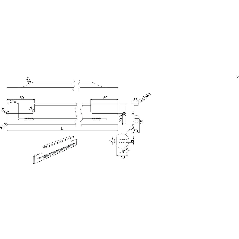 1 St/ück K/üchengriff Aluminium f/ür Schubladen /& Schr/änke L/änge 546 mm AG10011 M/öbelbeschl/äge Gedotec Moderner M/öbelgriff K/üche Griffleiste Edelstahl-Optik Schubladengriff mit Harpunensteg