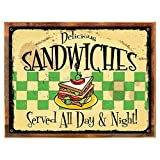 Wood-Framed Delicious Sandwich Served All Day Metal Sign, Retro Cafe, Restaurant, Kitchen… on reclaimed, rustic wood For Sale
