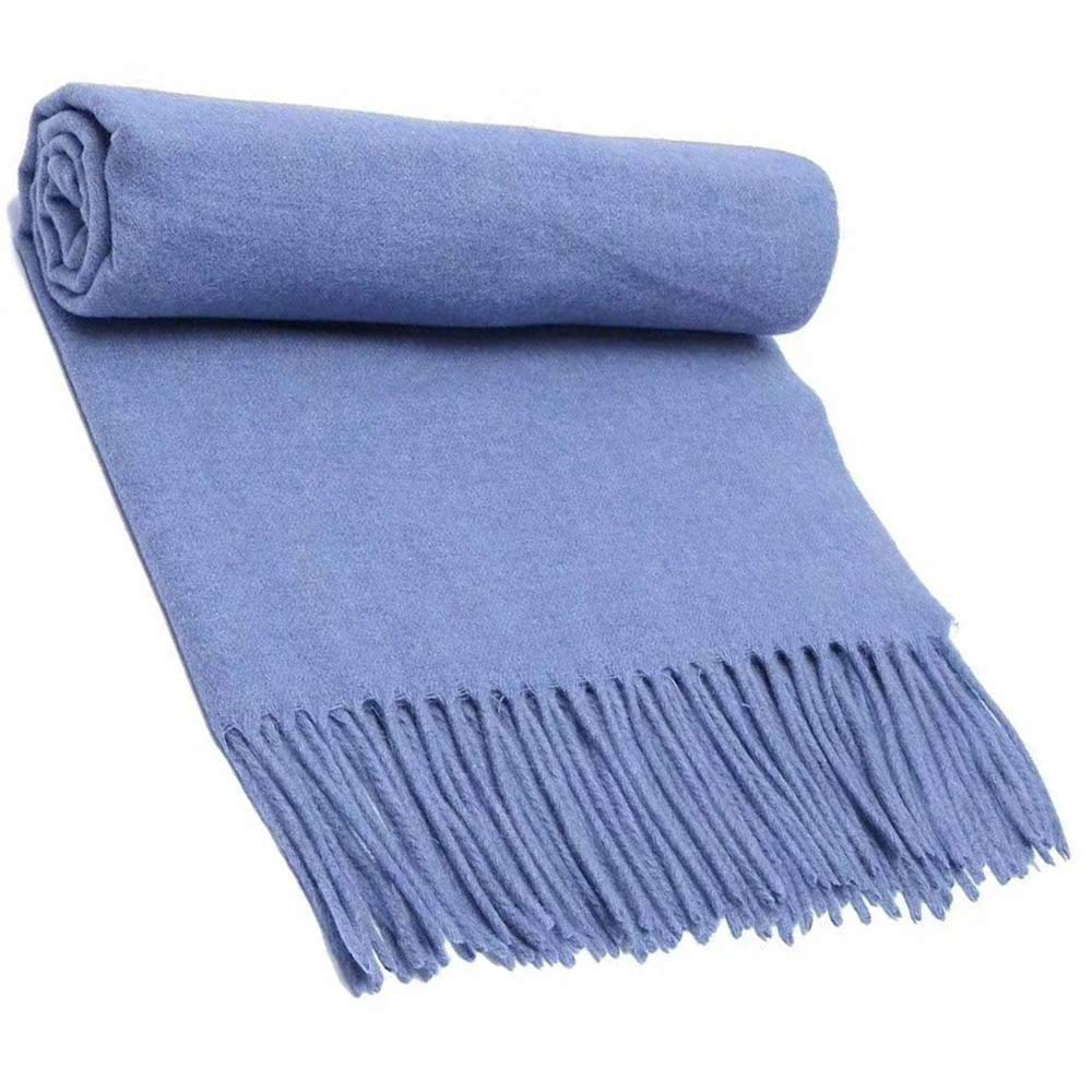 6 Scarf, Pure Wool Scarf Textile, Solid color Warm Pure Cashmere Scarf Men and Women Shawl 200CM