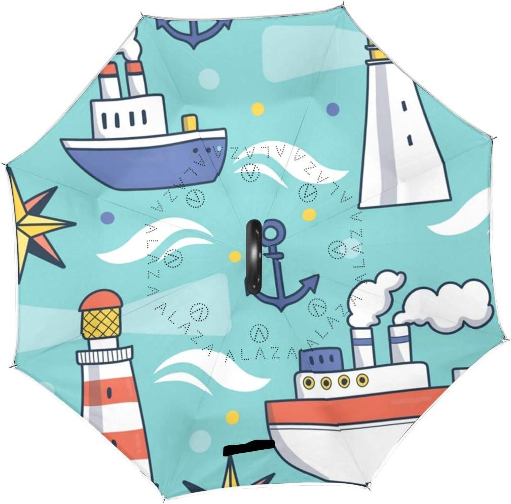 Inverted Umbrella with Cool Lighthouse Sailor Pride Print Car Reverse Folding Umbrella