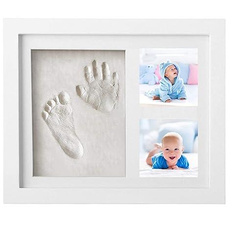 Makimaja huella de mano y huella, marcos de madera para moldes de escayola y fotos, sets de escayola para bebés, recién nacidos - Crear recuerdos ...