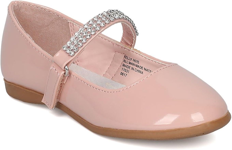 Toddler//Little Girl Patent Leatherette Round Toe Rhinestone Mary Jane Ballerina Flat Blush Patent CA04 Size: Toddler 8