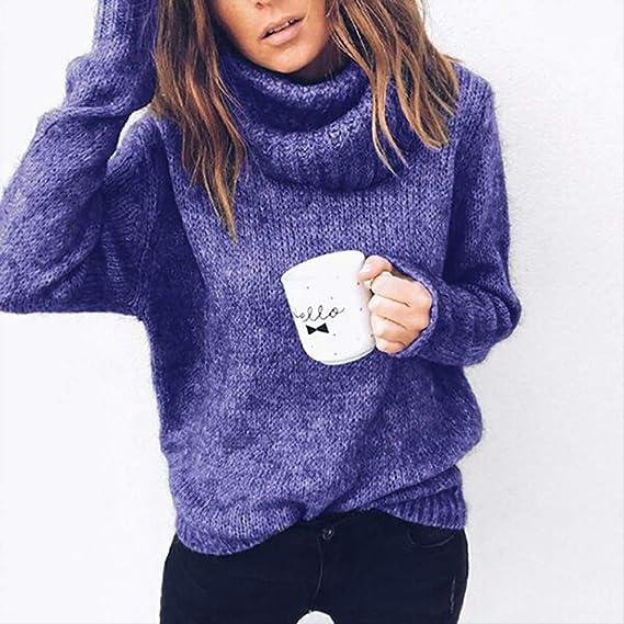 8a23f6b9f0dc Robemon✬Chandail Pull Femme Automne Hiver Col Haut La Mode Épais Tricot Mme  Manches Longues Doux Sweater Manteau  Amazon.fr  Vêtements et accessoires