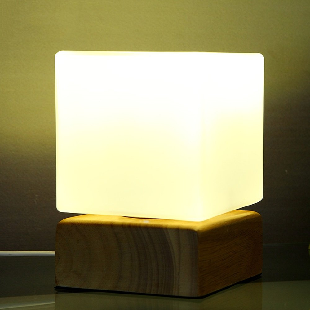 Lámpara de de mesa Lámpara de Lámpara escritorio de madera maciza Alto brillo E27 Fuente de luz Nórdico Luz de noche de madera creativa Dormitorio moderno simple Altura de la lámpara de cabecera: los 18CM 36652b