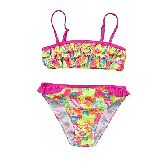 cb7ee3337cb4 QUICKLYLY Rope Bebe, 2PCS Bañadores para Niñas Bikini Conjunto Traje de  Vendaje Baño Flor Impresión Volantes Top +Cintura Alta Inferior