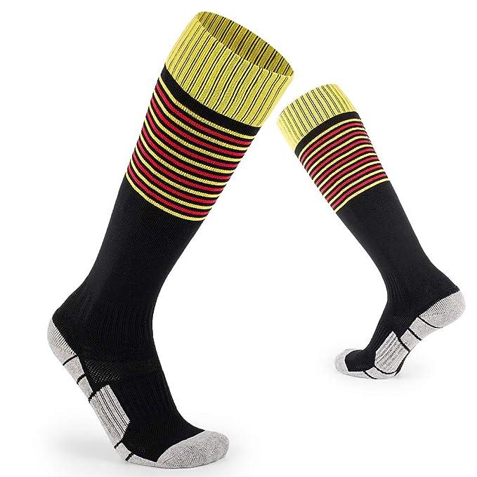 0b24d5f50a5c Kids Soccer Socks Little Boys Girls Knee High Cotton Athletic Stripe  Compression Football Sport Long Socks