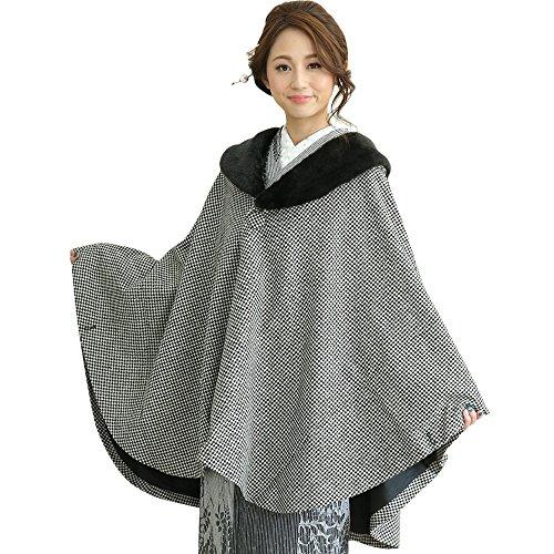 着飾るやろう音(キョウエツ) KYOETSU レディースコート 和装 ケープ へちま衿 ポンチョ ウール混生地 21
