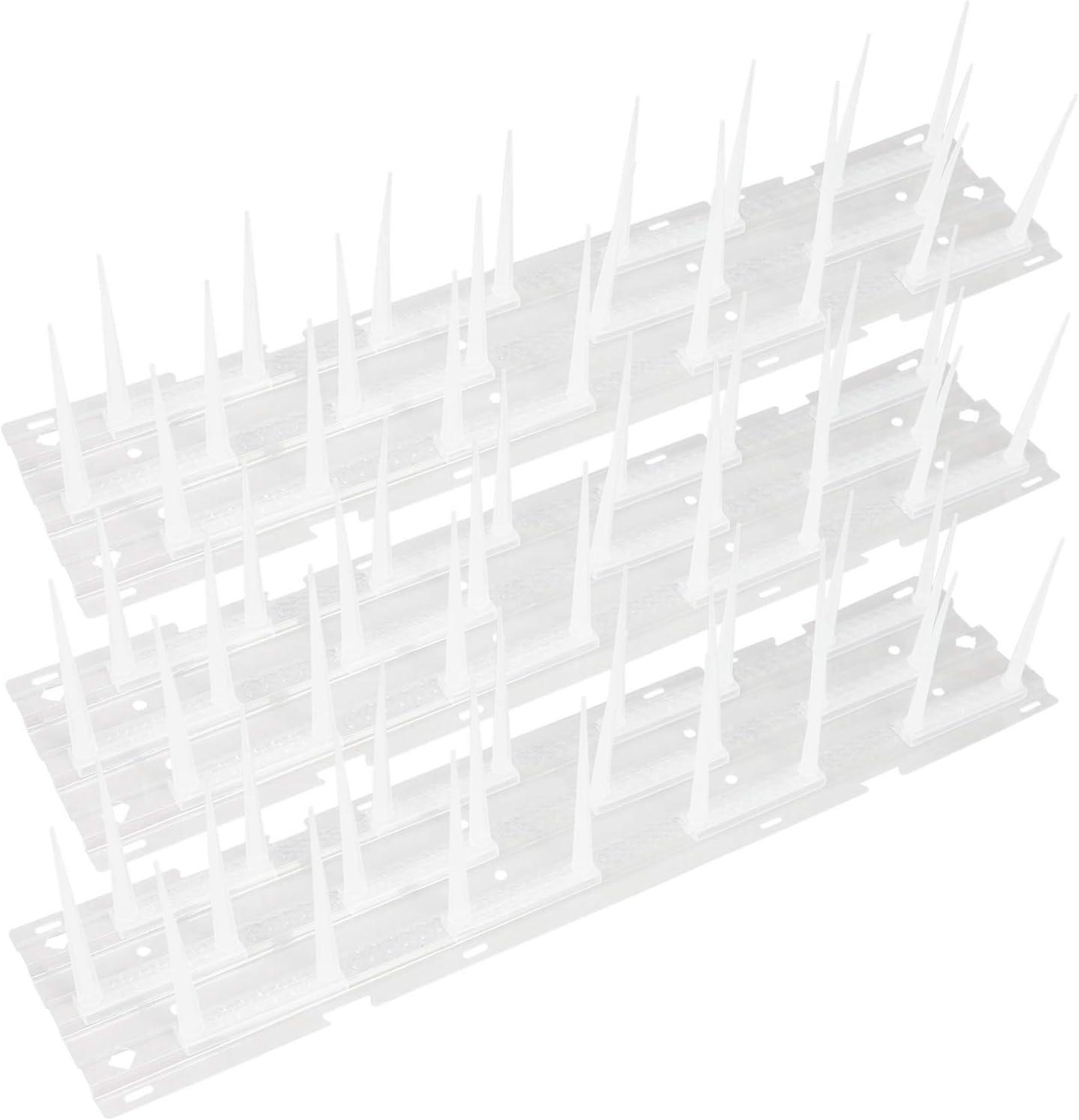 com-four® Picos de Defensa de Aves 3X 3 hileras, Repelente de Palomas Extensible a 115 cm, Miedo de Aves para la casa y el jardín, 40 x 9.5 cm por riel (03 Piezas - espigas)