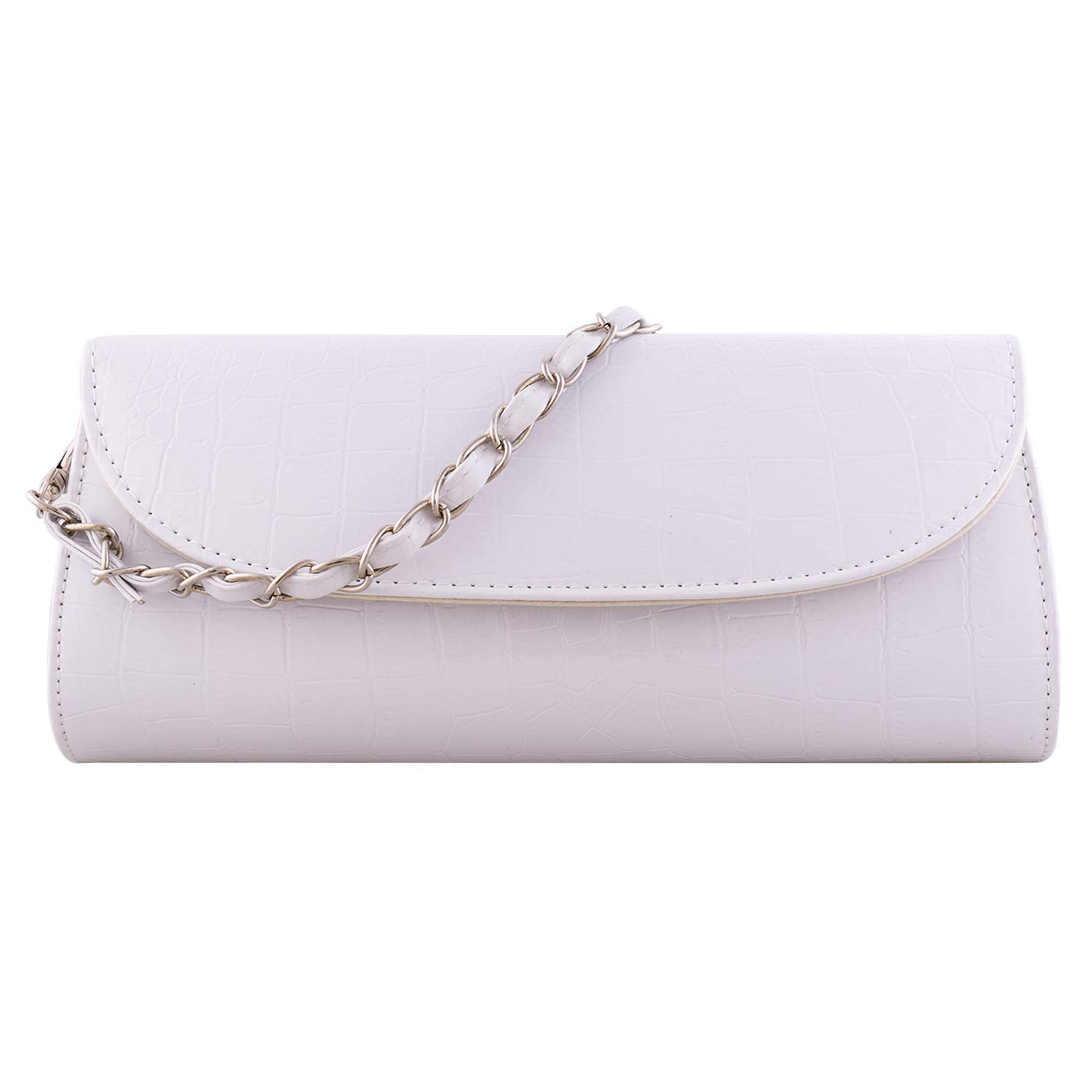 Bundle Monster Womens Envelope Evening Patent Croc Skin Embossed Clutch - WHITE by Bundle Monster (Image #1)