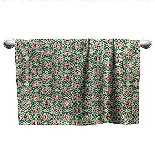 (alisoso Eastern,Kids Swimming Towels Vintage Mosaic Design of Florets Zigzag Borders Oval Details Pool Gym Towels Forest Green Pale Pink Peach W 20