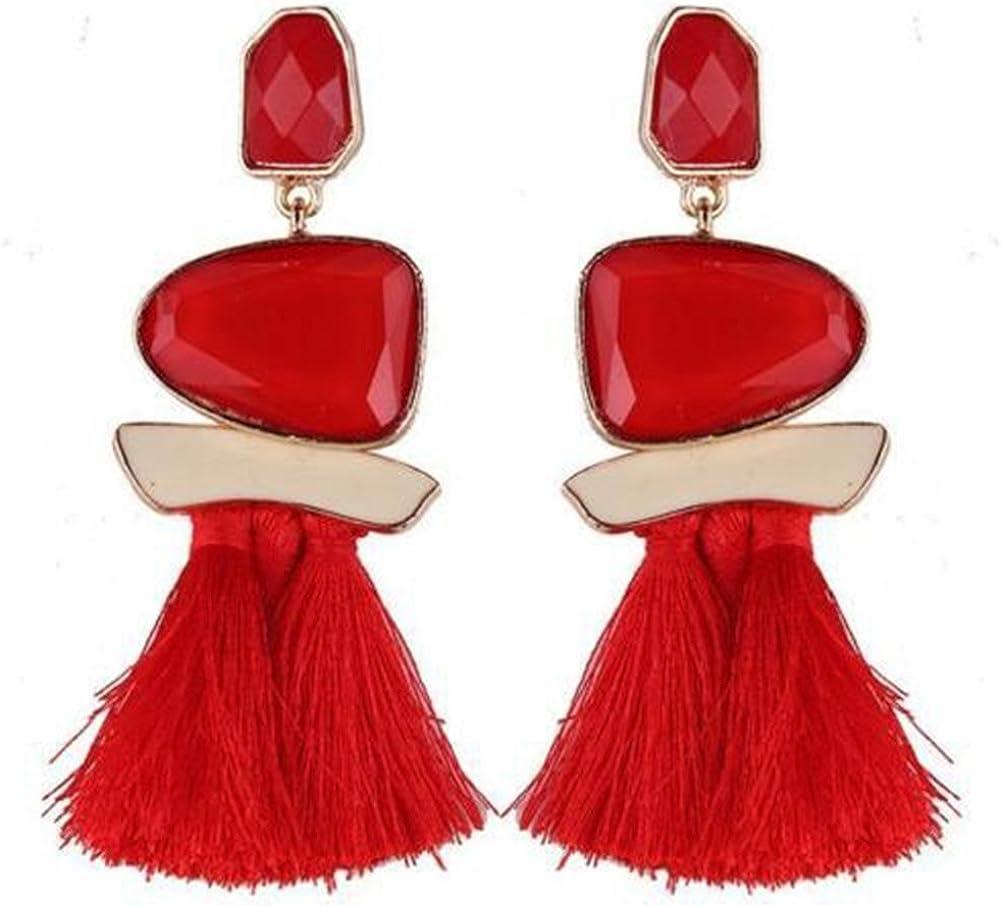 Cosanter pendientes de las mujeres pendientes de la borla de la piedra preciosa pendientes de resina para la decoración de la joyería de las mujeres (Rojo) 10.8 cm