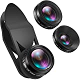 AMIR 3 in 1 HD Camera Lens Kit 0.65X Super Wide Angle Lens & 15X Macro Lens & 230 Degree Fisheye Lens Clip on Cell Phone Lens for iPhone 8 7 Plus / 7 / 6s Plus / 6s/ Samsung and Smartphones