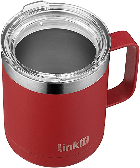 Linkit 12 oz Stainless Steel Coffee Mug with Standard Lid - Double Wall Vacuum Insulated Tumbler Cup with Handle - Brick Red