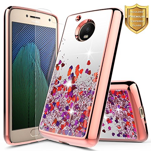 Moto E4 Plus Case wtih [Tempered Glass Screen Protector], NageBee Quicksand Liquid Floating Glitter Flowing Sparkle Bling Luxury Clear Soft Case for Motorola Moto E Plus (4th Generation) -Rose Gold