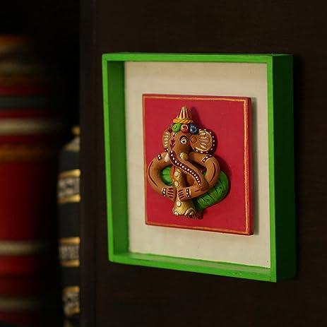 Amazon.com: ExclusiveLane Terracotta Handpainted Ganesha Wall Décor ...