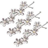 BIGBOBA Five-Leaf Flower Rhinestone Word Clip Side Clip Bangs Twist Clip Hair Accessories Small Gift for Women Ladies Girls