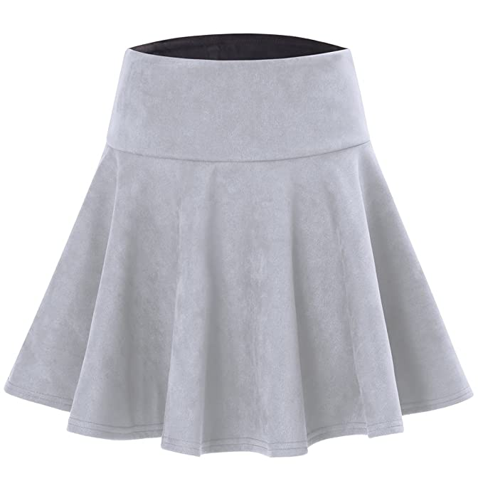 Womens Classic Winter Office Faux Suede Short Midi A Line Swing Skirts Grey M