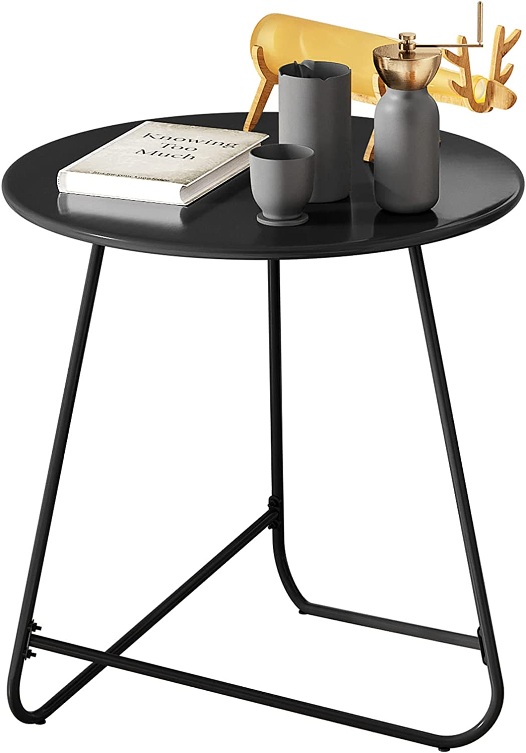 HOMEFORT Round Patio Side Table,Outdoor Snack Table,Anti-Rust Metal End Table, All-Metal Tray Table,17.9- Inch Bedside Table, Indoor Modern Sofa Side Table, Sturdy Metal Frame (Black)