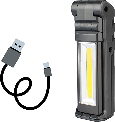 Portable Rechargeable COB LED Magnetic Torch Lamp Hook Cordless Work Light New