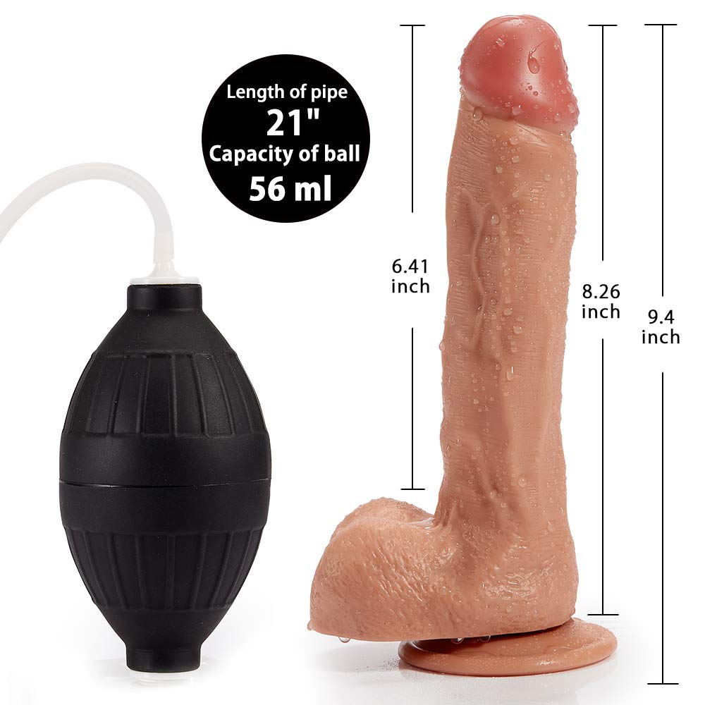 9.5'' G-spot Ejaculating Dildo, Realistic Squiring Male Erection Penis with Strong Suction Cup, Fondlove Large Black Thick Cock Anal Strap on Dildo Easy Insertable Sex Toy for Lesbian and Couple by Fondlove (Image #5)
